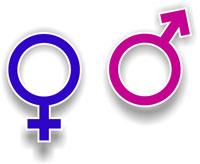 Symboles de l'homme et de la femme aux couleurs inversées