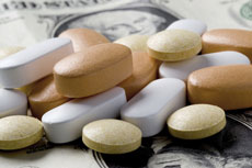 Des médicaments sur des dollars